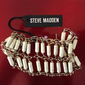 🆕 Steve Madden White Howlite & Gold Tone Bracelet